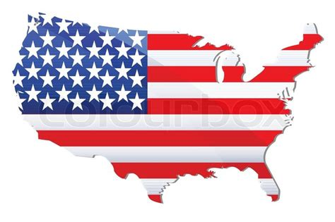 Illustration of flag of united states of america in shape