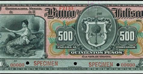 Mexico 500 Pesos banknote 1910 Banco de Jalisco|World