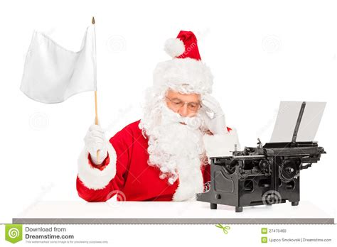 Disappointed Santa With Typing Machine Waving Flag Stock