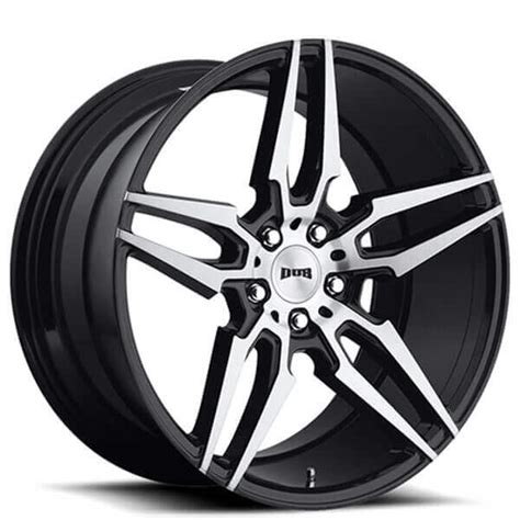 """20"""" Staggered Dub Wheels Attack5 S215 Black Brushed Rims #"""