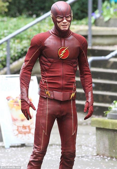 Masked man: Gustin was in full Flash costume while filming