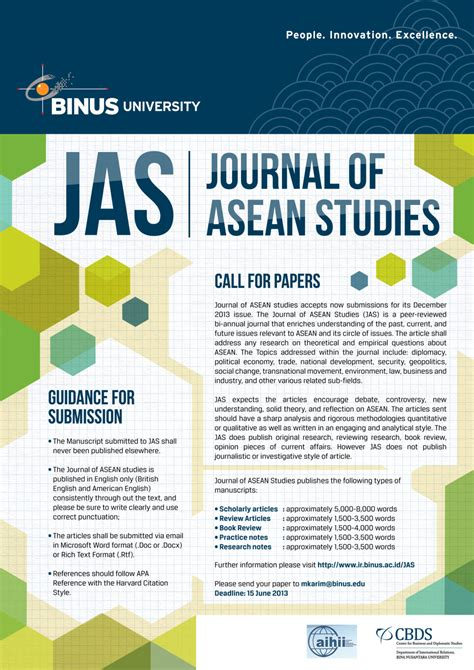 Journal of ASEAN Studies Call for Papers – International